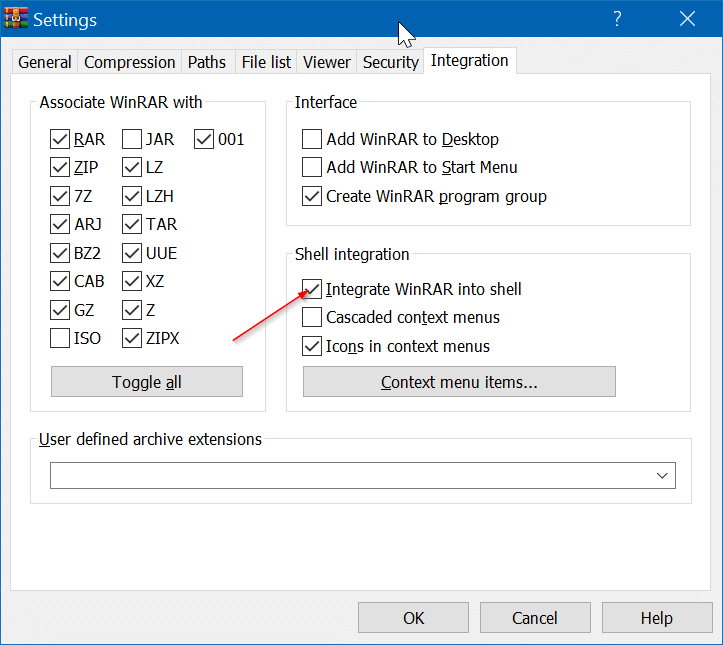winrar entries missing from the context menu