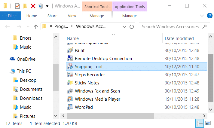 keyboard shortcut for snipping tool windows 10 step2