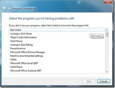 Program compatibility in Windows 7