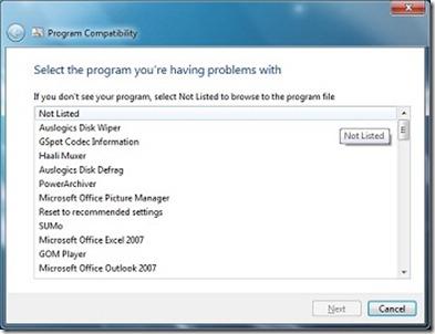 Program compatibility in Windows 7