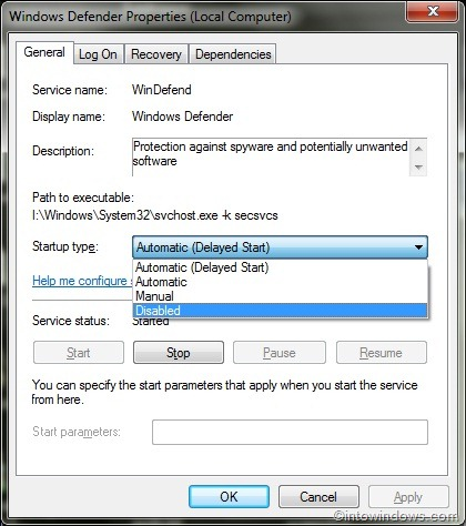 cant turn windows defender on windows 7