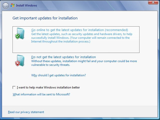 install windows 7 go online option