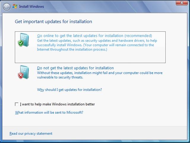 install windows 7 go online option