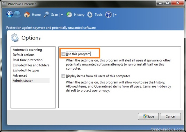 How To Turn off Windows Defender In Windows 7