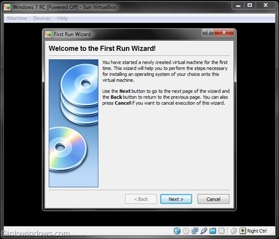 install Windows 7 on virtualbox