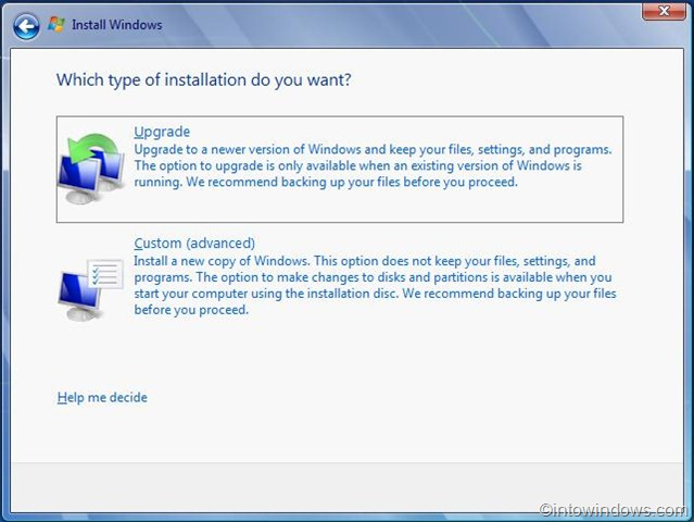 upgrade vista to windows 7 procedure