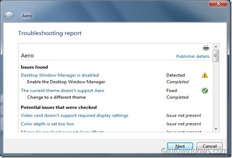 Troubleshooting report
