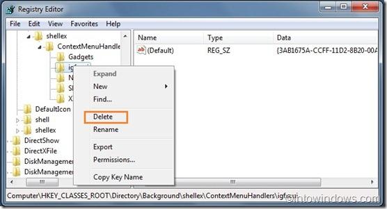 Remove Intel Menu from Windows 7 desktop context menu