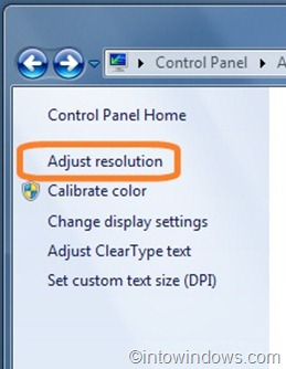adjust resolution