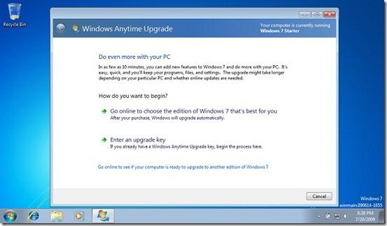 Windows 7 starter anytime upgrade