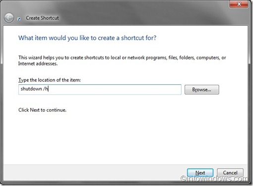 create shortuct to hibernate