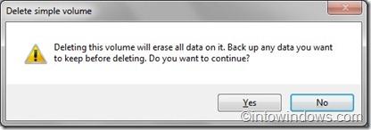 delete disk volume