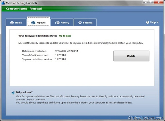 microsoft security essentials not updating virus definitions
