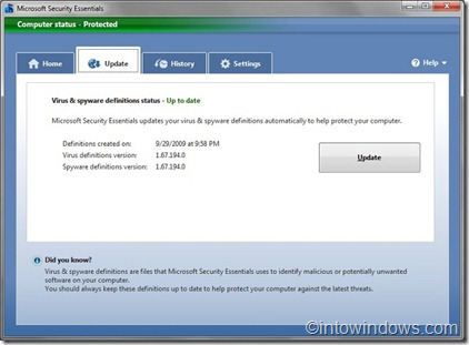 microsoft security essentials after offline update