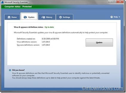 microsoft security essentials after offline update