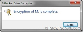 BitLocker drive encryption complete