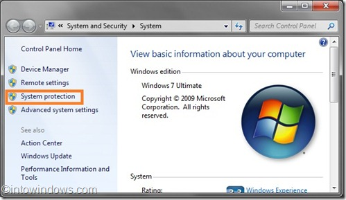 Windows 7 system properties