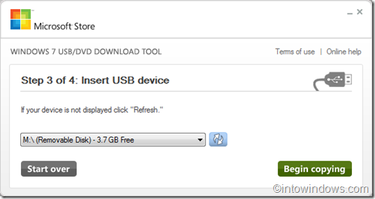 Windows 7 usb tool step 3