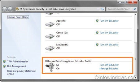 bitlocker drive encryption turn on