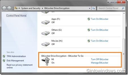 bitlocker drive encryption turn on