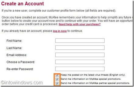 create an account for mcafee