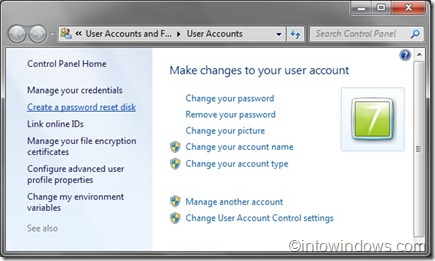 create a password reset disk