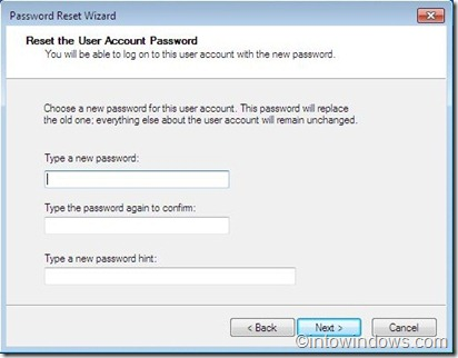 password reset wizard step three