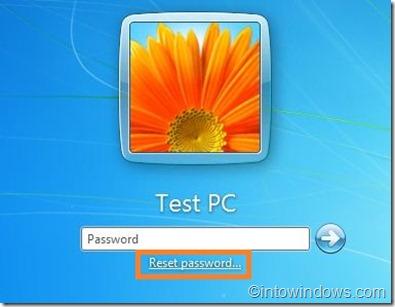 reset password option in logon screen