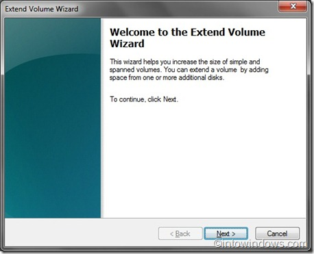 extend volume wizard step one