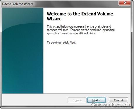 extend volume wizard step one
