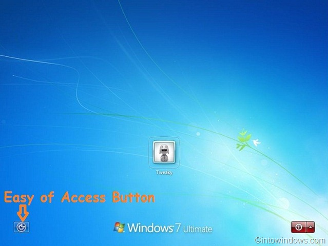 disable easy of access logon screen Windows 7