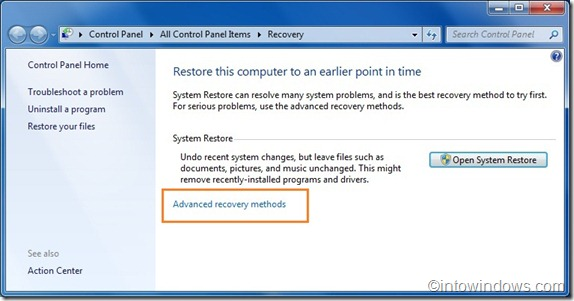 Recovery in windows 7