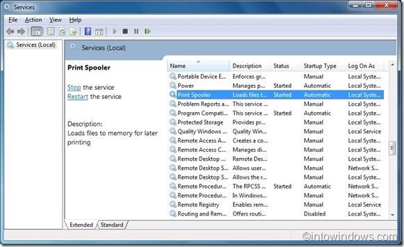 Windows 7 services