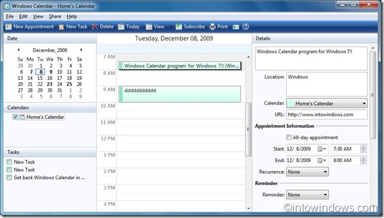 Windows Calendar for Windows 7