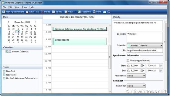 Windows Calendar for Windows 7