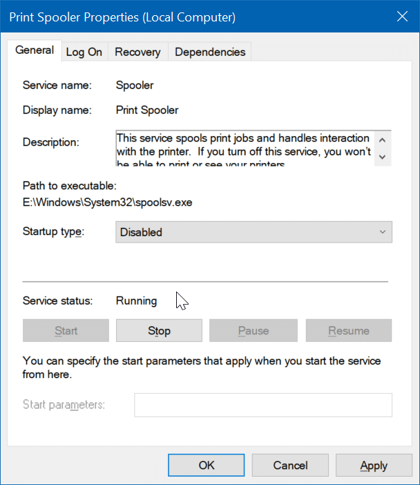 disable a service in Windows 10 pic2