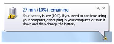 low battery notification