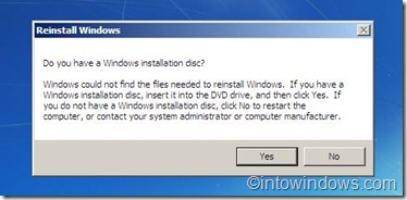 reinstall windows disc confirmation