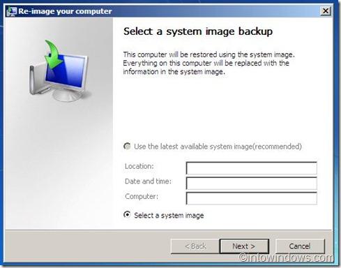 system image backup option