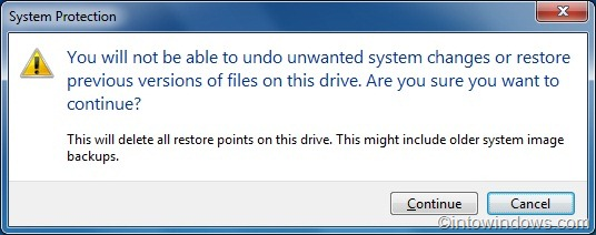 delete individual restore points windows 7