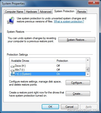 windows 7 how to delete restore point files