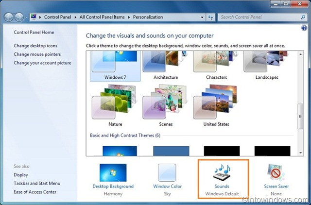 how to change clicking sound on windows 7