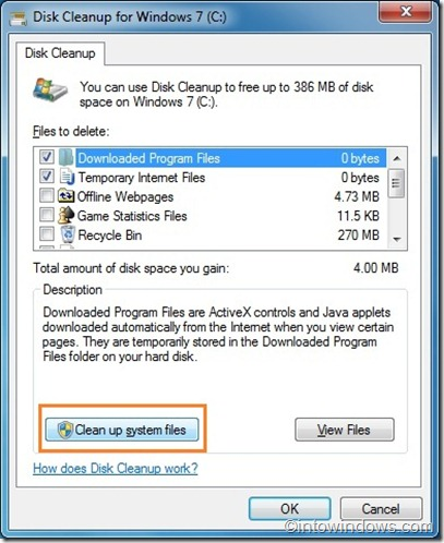 delete restore point in Windows 7