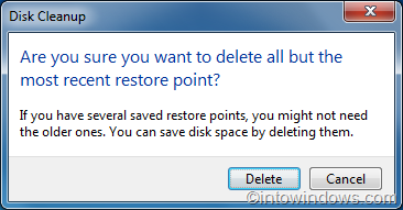 delete all but most recent restore points in Windows 7 step last