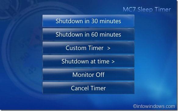 Sleep Timer for media center main screen