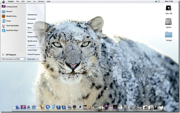 Snow Leopard theme for Windows 7