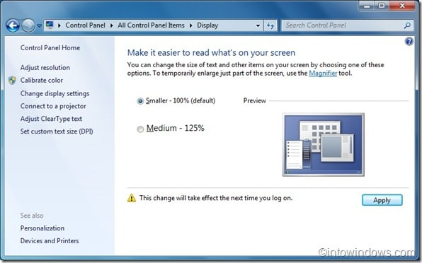 how to increase logon screen text size in windows 7