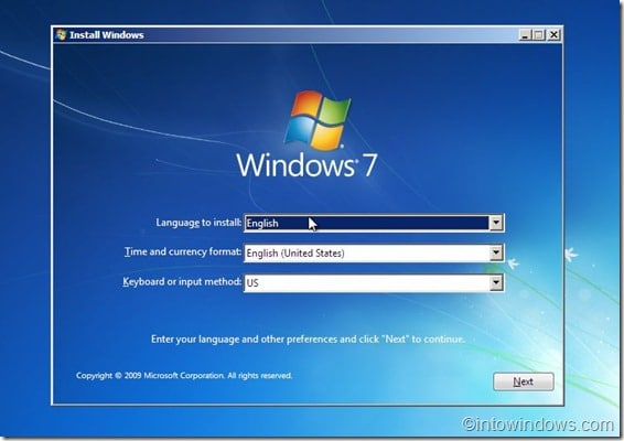 install Windows screen