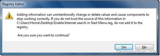 search internet from start menu via registry