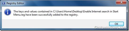search internet from start menu via registry editor
